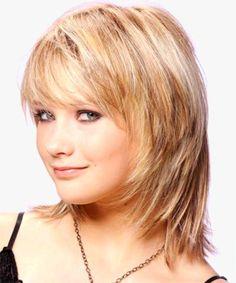 Medium layered haircuts for thick hair and round faces - LivesStar. Medium Haircuts With Bangs, Medium Layered Haircuts, Round Face Haircuts, Hairstyles With Bangs, Hairstyles 2016, Layered Hairstyles, Shag Hairstyles, Latest Hairstyles, Bob Hairstyle