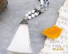 108 Mala Necklace, Grey and Rainbow Jade, pave strass white silk tassel, 108 Mala beads, yoga gift, meditiation jewelry, prayer, present