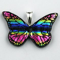 Sterling Silver Dichroic Glass Rainbow Butterfly Pendant (Mexico) - Overstock™ Shopping - Big Discounts on Pendants