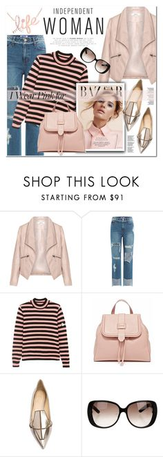"""""""pink for independent woman"""" by nanawidia ❤ liked on Polyvore featuring Zizzi, SJYP, Shrimps, Jerome C. Rousseau, Gucci, Kobelli and IWearPinkFor"""