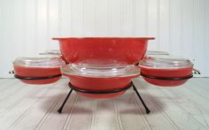 Pyrex Entertaining Set of Casserole Dishes in Original Black Metal Carousel - Vintage Flamingo Pink Hostess Collection - Hard to Find via Etsy