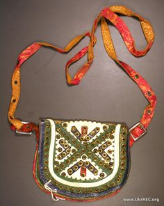 Leather bag with metal decorations, Hutsul region of Ukraine. Late 19th century.