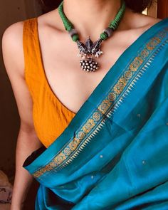 Silk Chanderi blue and orange cotton saree with sterling silver tribal thread necklace Trendy Sarees, Stylish Sarees, Saree Blouse Patterns, Saree Blouse Designs, Indian Designer Outfits, Indian Outfits, Indian Clothes, Indian Dresses, Saree Jewellery