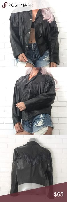 "🌟30% Bundles🌟Bull Fringe Leather Jacket •Like new •Snap front w collar •Long sleeves •Fringe trim throughout front/back •Slim fit •Falls at waist •Leather •XL  •Chest: 22"" (flat) •Length: 30""  •NO TRADE/HOLD   •PLEASE ASK QUESTIONS & READ DESCRIPTIONS. Measurements and sizing recommendations are for guidance purposes only. I cannot guarantee fit❗️ Bull Genuine Leather Jackets & Coats"