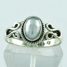 Pearl Stone Pretty Tiny 925 Solid Sterling Silver Ring __ Jaipur Silver India by JaipurSilverIndia on Etsy