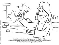 Coloring festival: Parables of jesus coloring pages Sunday School Activities, Bible Activities, Sunday School Lessons, Sunday School Crafts, Bible Story Crafts, Bible School Crafts, Bible Stories, Mustard Seed Parable, Mustard Seed Faith