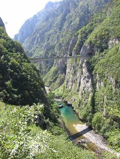 Bridge over the Piva River canyon. The Piva is a river in Montenegro and Bosnia and Herzegovina, shorter headwater of the Drina river, which it forms with the Tara river on the border with Bosnia and Herzegovina.