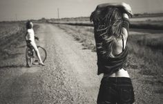 Wallpaper girl, road, shorts, bike, summer, bw wallpapers mood - download