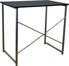 metal computer desk in black front view