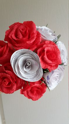 Red Wedding Bouquet Bride Flowers Crepe paper by moniaflowers