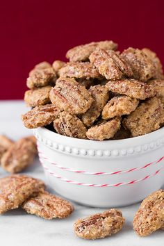 Sugared Pecans {Candied Pecans} (Cooking Classy) Cinnamon Sugared Pecans - easy to make and highly addictive. These are always a hit!Cinnamon Sugared Pecans - easy to make and highly addictive. These are always a hit! Pecan Recipes, Sweet Recipes, Dessert Recipes, Cooking Recipes, Candy Recipes, Snacks Recipes, Soap Recipes, Candied Pecans Recipe, Sugared Pecans