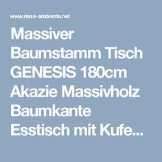 Massiver Baumstamm Tisch GENESIS 180cm Akazie Massivholz Baumkante Esstisch mit Kufengestell Industrial Finish   Riess-Ambiente.de