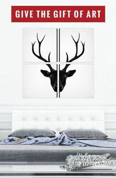 Canvas Sets available at Eyes On Walls, ft. 'The Black Deer' by Ruben Ireland  http://www.eyesonwalls.com/collections/canvas-sets?utm_source=pinterest&utm_medium=ads&utm_content=black%20deer%20canvas%20set&utm_campaign=gifting