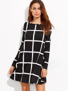 online shopping for SheIn Women's Grid Check Print Long Sleeve Swing Dress from top store. See new offer for SheIn Women's Grid Check Print Long Sleeve Swing Dress Short A Line Dress, Long Sleeve Short Dress, Maxi Dress With Sleeves, Short Sleeve Dresses, Dress Long, Tent Dress, Swing Dress, Shein Pull, Tartan Dress