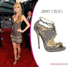 "Taylor Swift in Jimmy Choo ""Viola"" Smokey Swarovski Crystal Embellished Heels"