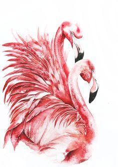 "/""FLAMINGO/"" Watercolor Wildlife Art Print by Artist DJR"