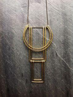 Martillado de collar geométrico Totem - de lazo joyería - joyería de cobre amarillo plata martillado collar geométrico geométrico-Art Deco-Portland
