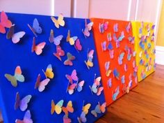 We Craft: Butterflies » Curvy Girl Guide  IDEA: Maybe have girls each get a small canvas, paint paper, and then I can hotglue a selection of butterflies onto each as their favors???