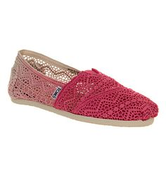 Toms Seasonal Classic Slip On Fuschia Dip Dye Crochet - Flats