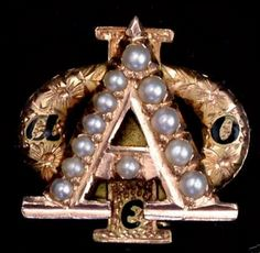 A Truly Lovely Alpha Phi Badge. Chased with Pearls