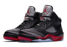 """Air jordan 5 v retro """"satin bred"""" black university red men's sneakers Nike Air Jordan Retro, Air Jordan Shoes, Nike Fashion, Sneakers Fashion, Men's Sneakers, Women's Fashion, Yellow Sneakers, Baskets, Latest Sneakers"""