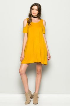 Residents On Womens Cold Shoulder Jersey Flowy Swing Dress Plus Size Mustard 2XLarge ROND1234 * Continue to the product at the image link. (This is an affiliate link and I receive a commission for the sales) #CasualsDress