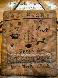 Primitive distressed pin-keep sampler from A Murder of Crows Prims