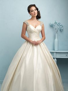 Allure Bridals 9204 Ball Gown Wedding Dress with Beaded Cap Sleeves