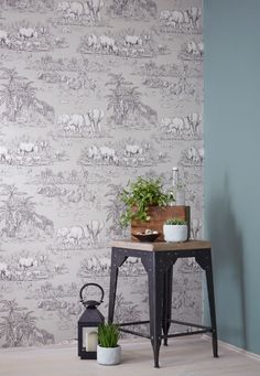 Colours Watering Hole Taupe Animal Safari Metallic