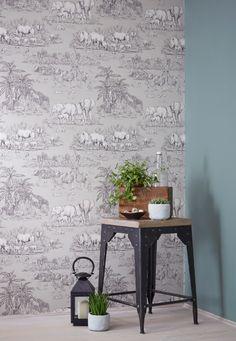Animal House Wallpaper Colours Watering Hole Taupe Animal Safari Metallic