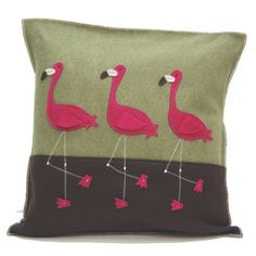 pillow cover: flamingo - Interesting color combinations and unique design features make this pillow a cool contemporary accent piece for your child's room.