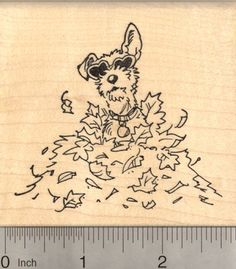 Terrier Dog Rubber Stamp in Autumn Leaves * Check out the image by visiting the link.