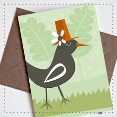 Birdie with a hat Greeting card by Heedopter on Etsy, €2.95