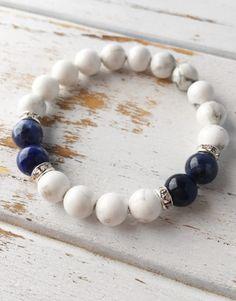 Peaceful Communication ~ Genuine White Howlite & Sodalite Bracelet