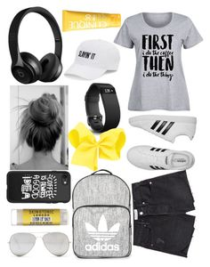 """""""Morning Coffee #shorts #coffee"""" by landi-ruthven on Polyvore featuring Frame, adidas, Casetify, Fitbit, Topshop, Sunny Rebel, Clinique, SO and plus size clothing"""