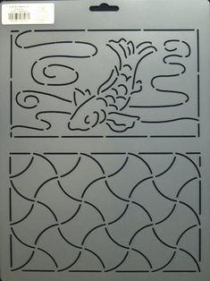 Sashiko Stencil- Koi and Anchors. www.AlderwoodQuilts.com