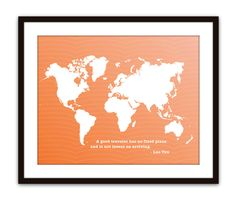 World Map Digital Print - World Traveler - Peach Coral - Ombre Color Fade - Wall Art  - Spring Summer Modern Home Decor - Typography. $18.00, via Etsy.