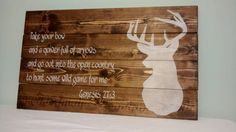 Check out this item in my Etsy shop https://www.etsy.com/listing/217281691/rustic-buck-and-bible-verse-hunting-sign  Tags: hand made, handmade, nursery, baby, cabin, lodge, camp, rustic, rough, vintage, old, hunter, hunt, deer, buck, doe, stag, antlers, rack, bible, christian, verse, wood, dark, stain, distressed, waxed, painting, boy, girl, camo, baby