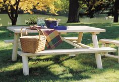 WHAT'S INCLUDED: Picnic Table This cleverly designed, ultra-sturdy Log Picnic Table features benches that flip up for easy lawn mowing. Resistant to insect damage and weather decay, white cedar is the natural choice for out Cedar Furniture, Patio Furniture Sets, Kids Furniture, Garden Furniture, Patio Bar, Patio Table, Picnic Tables, Cedar Table, Picnic Menu