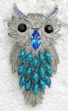"""SAPPHIRE COLOR BLUE  3"""" OWL   BROOCH"""
