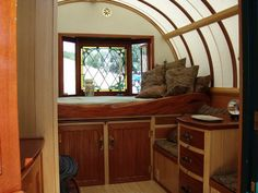 Gypsy wagon interior.  There's something about living a gypsy life of traveling around that appeals to me.