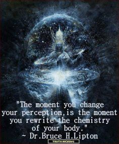 """""""The moment you change your perception is the moment you rewrite the chemistry of your body."""" Dr. Bruce H. Lipton"""