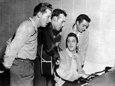 """Million Dollar Quartet"""" is the name given to recordings made on Tuesday December 4, 1956 in the Sun Record Studios in Memphis, Tennessee. The recordings were of an impromptu jam session among Elvis Presley, Jerry Lee Lewis, Carl Perkins, and Johnny Cash."""