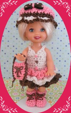 """Crochet Doll Clothes Outfit Rose Ruffles 4 ½"""" Kelly Same Sized Dolls"""