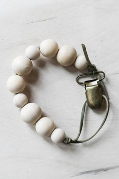 Leather and Wooden Beads Pacifier Clip by NWearthoriginals on Etsy