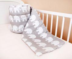 Bettumrandung Nest Kopfschutz Nestchen 420x30cm, 360x30cm, 180x30 cm Bettnestchen Baby Kantenschutz Bettausstattung Elefant Grau (180x30cm)