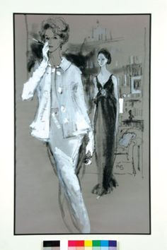 "Kenneth Paul Block, Portrait of ""Babe"" Paley in Mainbocher and Amanda Burden in Sarm, 1965"