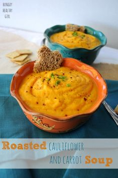 Roasted Cauliflower and Carrot Soup | Hungry Healthy Girl  Light, flavorful and super healthy!
