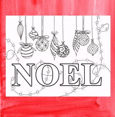 Holiday Coloring Page, Christmas Coloring Page, Noel Coloring Page by FourthAvePenandInk on Etsy