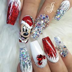 Disney Christmas Nails, Xmas Nail Art, Xmas Nails, Christmas Nail Art Designs, Holiday Nails, Christmas Acrylic Nails, Disney Acrylic Nails, Pink Acrylic Nails, Gel Nails